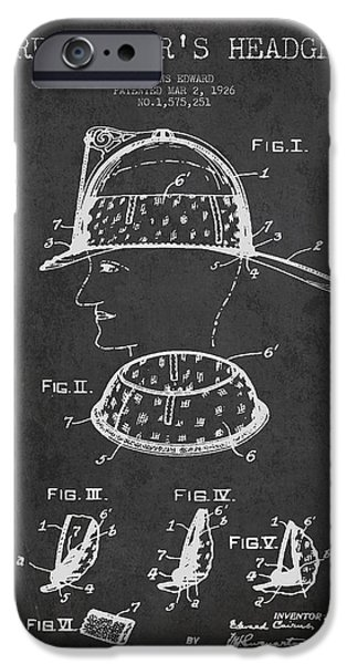 Gear iPhone Cases - Firefighter Headgear Patent drawing from 1926 iPhone Case by Aged Pixel