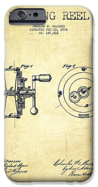 Tackle iPhone Cases - Fishing Reel Patent from 1874 iPhone Case by Aged Pixel