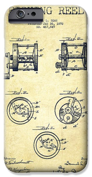 Caught iPhone Cases - Fishing Reel Patent from 1892 iPhone Case by Aged Pixel