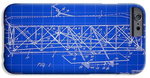 Plans iPhone Cases - Flying Machine Patent 1903 - Blue iPhone Case by Stephen Younts