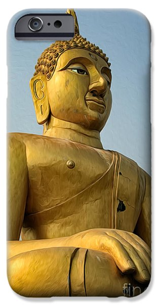 Buddhist iPhone Cases - Golden Buddha iPhone Case by Adrian Evans