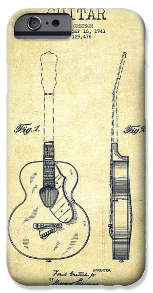 Guitar Strings iPhone Cases - Gretsch guitar patent Drawing from 1941 - Vintage iPhone Case by Aged Pixel