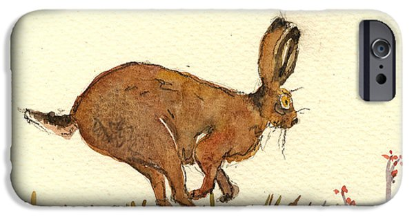 Running iPhone Cases - Hare iPhone Case by Juan  Bosco