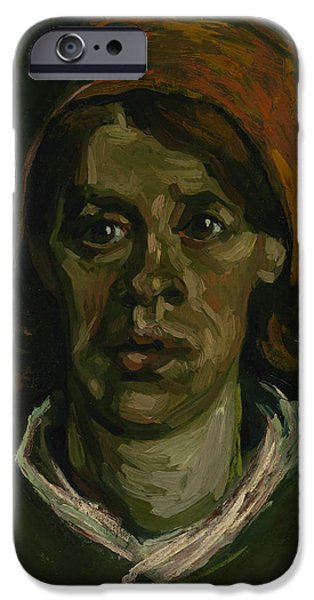 Character Study iPhone Cases - Head Of A Woman iPhone Case by Vincent Van Gogh