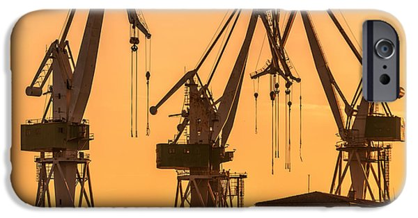 Business Pyrography iPhone Cases - Industrial cargo cranes in the dock iPhone Case by Oliver Sved