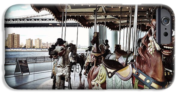 Brooklyn Bridge Digital Art iPhone Cases - Janes Carousel iPhone Case by Natasha Marco