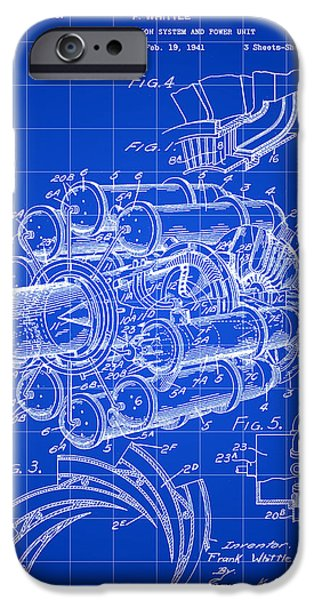 Combustion iPhone Cases - Jet Engine Patent 1941 - Blue iPhone Case by Stephen Younts