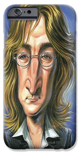 Beatles Paintings iPhone Cases - John Lennon iPhone Case by Art
