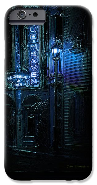 Night Lamp iPhone Cases - Key West Florida - Blue Heaven Rendezvous iPhone Case by John Stephens