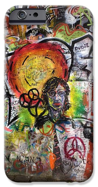 Beatles iPhone Cases - Lennon Wall, Prague iPhone Case by Mark Williamson