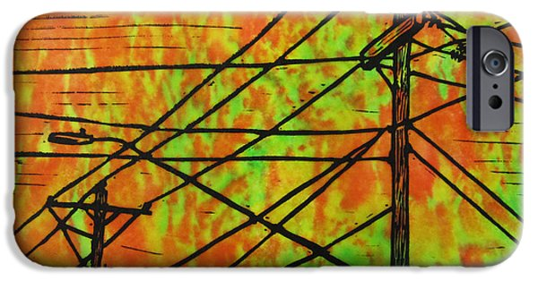 Electricity Drawings iPhone Cases - Lines iPhone Case by William Cauthern
