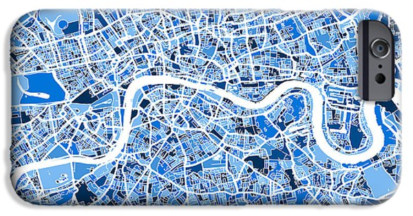 Britain iPhone Cases - London England Street Map iPhone Case by Michael Tompsett