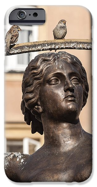 Statue Portrait iPhone Cases - Mermaid statue in Warsaw. iPhone Case by Fernando Barozza