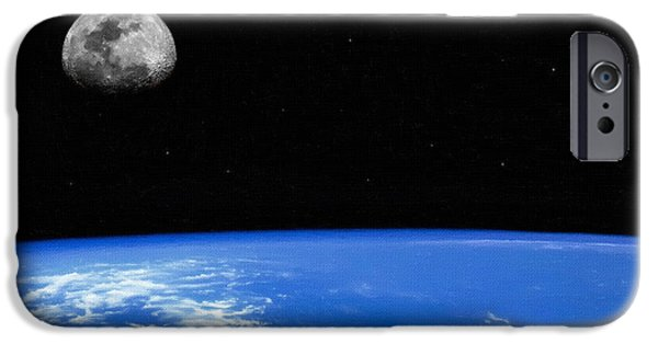 Screen Print iPhone Cases - Moon Print iPhone Case by Victor Gladkiy