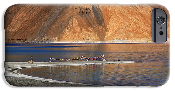 Tibetan Buddhism iPhone Cases - Mountains Pangong tso Lake Leh Ladakh Jammu and Kashmir India iPhone Case by Rudra Narayan  Mitra