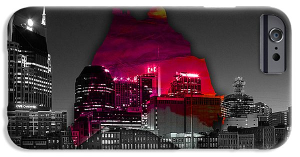 Colorful Art iPhone Cases - Nashville Skyline and Map Watercolor iPhone Case by Marvin Blaine