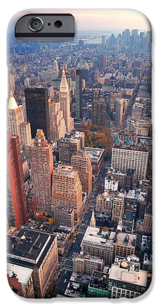 Hudson River iPhone Cases - New York City Manhattan skyline aerial view iPhone Case by Songquan Deng