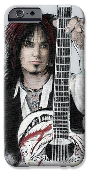 Bassist iPhone Cases - Nikki Sixx iPhone Case by Melanie D