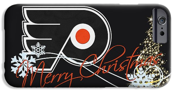 Santa iPhone Cases - Philadelphia Flyers iPhone Case by Joe Hamilton