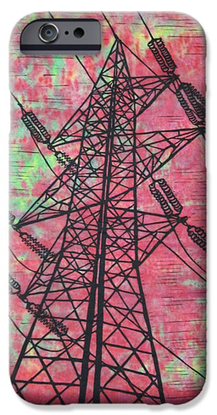 Lino Drawings iPhone Cases - Power iPhone Case by William Cauthern