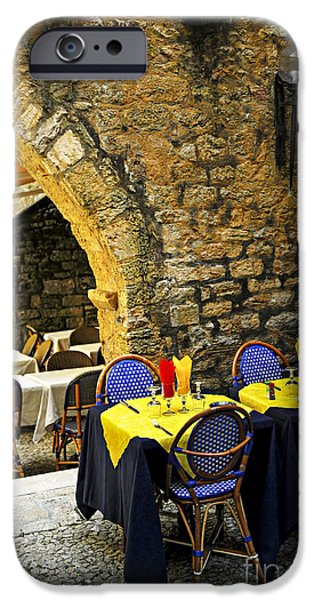 Culture iPhone Cases - Restaurant patio in France iPhone Case by Elena Elisseeva