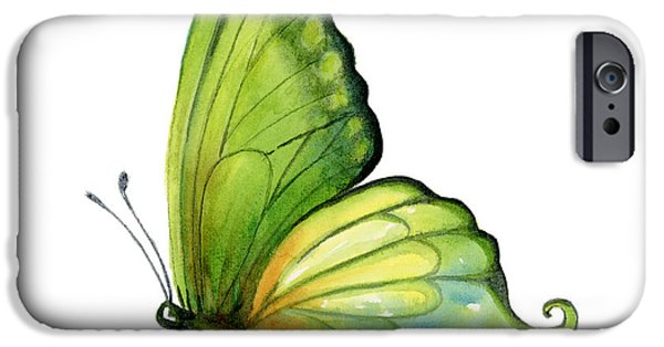 Moth iPhone Cases - 5 Sap Green Butterfly iPhone Case by Amy Kirkpatrick