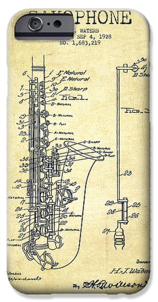 Orchestra iPhone Cases - Saxophone Patent Drawing From 1928 iPhone Case by Aged Pixel