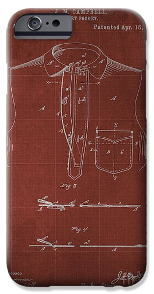 Shirt Digital iPhone Cases - SHIRT POCKET Blueprint Patent iPhone Case by Pablo Franchi