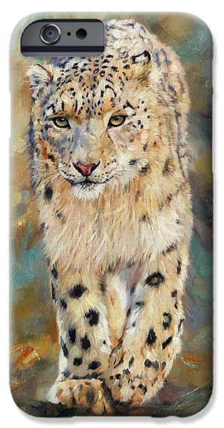 Tibet iPhone Cases - Snow Leopard iPhone Case by David Stribbling