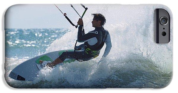 Kiteboarding iPhone Cases - Spain, Andalusia, Cadiz, Costa De La iPhone Case by Ben Welsh