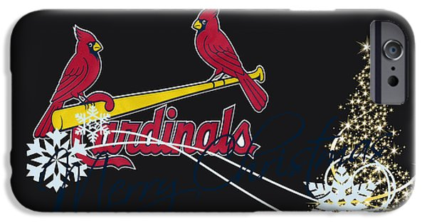 Christmas Greeting iPhone Cases - St Louis Cardinals iPhone Case by Joe Hamilton