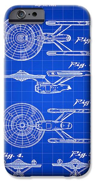 Enterprise Digital iPhone Cases - Star Trek USS Enterprise Toy Patent 1981 - Blue iPhone Case by Stephen Younts