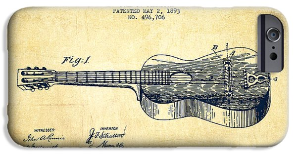Guitar Strings iPhone Cases - Stratton guitar patent Drawing from 1893 iPhone Case by Aged Pixel