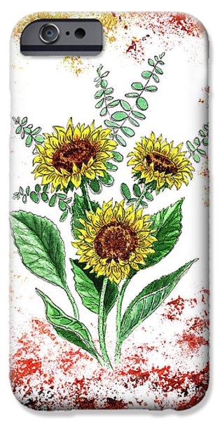 Pollen iPhone Cases - Sunflowers iPhone Case by Irina Sztukowski