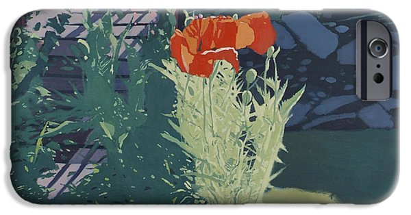 Park Scene Paintings iPhone Cases - Sunny Poppies iPhone Case by Malcolm Warrilow