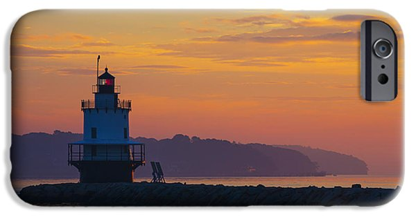 Maine iPhone Cases - Sunrise at Spring Point Lighthouse iPhone Case by Diane Diederich