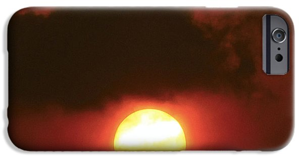 Sun Rays Pyrography iPhone Cases - Sunset  iPhone Case by Girish J