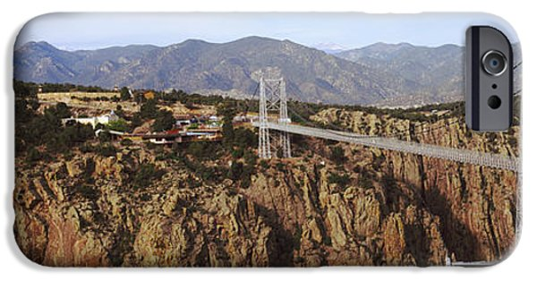 Arkansas Photographs iPhone Cases - Suspension Bridge Across A Canyon iPhone Case by Panoramic Images