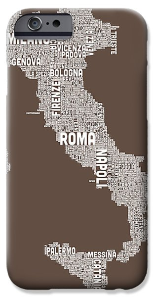 Geography iPhone Cases - Text Map of Italy Map iPhone Case by Michael Tompsett