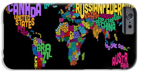 Font iPhone Cases - Text Map of the World Map iPhone Case by Michael Tompsett