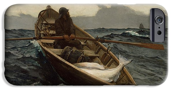 Sailing Pastels iPhone Cases - The Fog Warning iPhone Case by Winslow Homer
