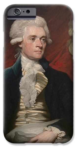 Democracy Paintings iPhone Cases - Thomas Jefferson iPhone Case by War Is Hell Store