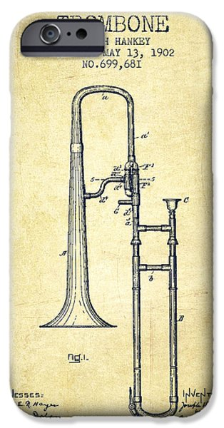 Slide iPhone Cases - Trombone Patent from 1902 - Vintage iPhone Case by Aged Pixel