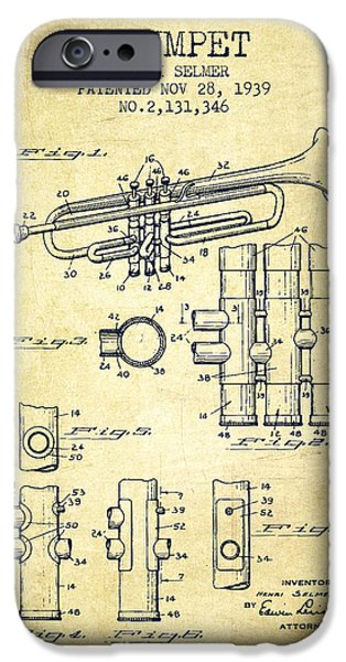 Trumpet iPhone Cases - Trumpet Patent from 1939 - Vintage iPhone Case by Aged Pixel