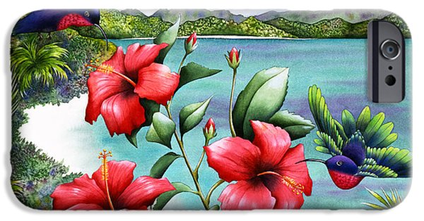 Flying Animals iPhone Cases - Hibiscus Hummers iPhone Case by Carolyn Steele