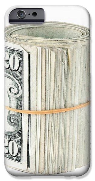 Finance iPhone Cases - US dollars background iPhone Case by GP Images