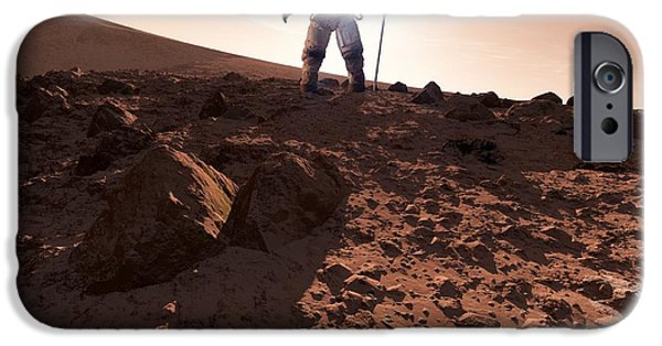 First Star iPhone Cases - Us Exploration Of Mars, Artwork iPhone Case by Detlev van Ravenswaay