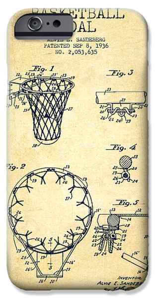 Dunk iPhone Cases - Vintage Basketball Goal patent from 1936 iPhone Case by Aged Pixel