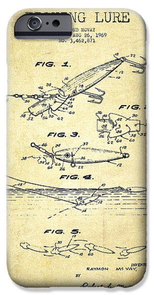 Caught iPhone Cases - Vintage Fishing Lure Patent Drawing from 1969 iPhone Case by Aged Pixel