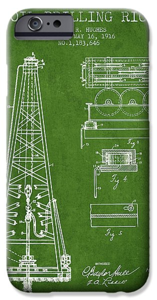 Industry Digital Art iPhone Cases - Vintage Oil drilling rig Patent from 1916 iPhone Case by Aged Pixel